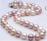 Wholesale New Fine pearl jewelry classic mm south sea white pink purple earl necklace quot k