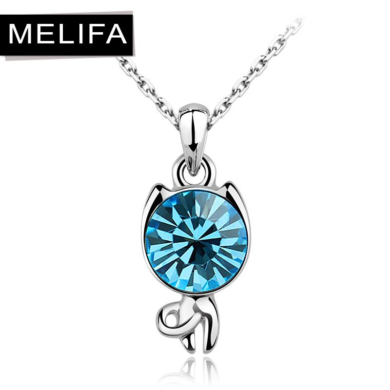 wholesale accessories austria crystal cute cat necklace
