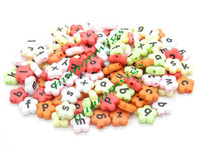 Wholesale 200pcs mm Random Mixed Flowers Alphabet Letter Acrylic Spacer Beads Fit Bracelets LZC0181