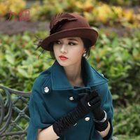 Stingy Brim Hat felt top hat - Fashion Pure Wool Felt Hats Felt Hat Top Hat Wool Felt Handmade Women Hat Feather Hats