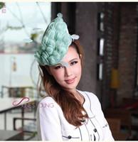 Wholesale Hair Fascinators Hair Accessories Hair Clip Light Green Color Sinamay Elegant Women Party Hairwear Hairband Beautiful