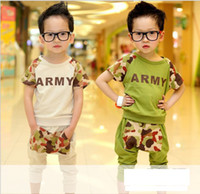 2T-3T Boy Summer Children's Outfits & Sets boy's Camouflage color T-shirt+Haroun pants 2piece suit(5pcs lot)