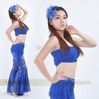 Belly Dancing Sequin Chiffon Belly dance new tribal style belly dancing practice clothes lace top+pants set divided skirts