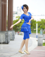 Wholesale Yoga clothing set sportwear summer top Culottes pants skirt women stage costumes