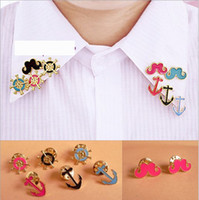 Wholesale Latest Fashion Mustache Pins Anchor Brooches Rudder Collar Breastpin Prevalent Jewelry