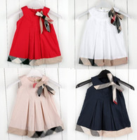 Wholesale New style tartan girls dresscake dress wedding dress ruffle red white Dark blue beige