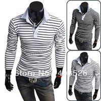 Men Cotton Polo Men's Cotton Korean Autumn Winter Slim Fit Stripe Long Sleeve Shirt Polo T-Shirt Tops M,L,XL,XXL Fre