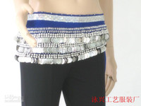 Velour Sequin free size (medium) 338 coins hip scarf Belly dance hip scarf women wear costumes belly dancing tribal belt