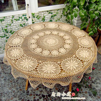 Wholesale Handmade hook needle crochet big round table cloth elegant wallpaper cotton