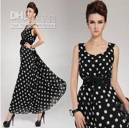 Wholesale 2013 Hot new arrive Summer dot Chiffon women s dresses lady s Beach dresses black