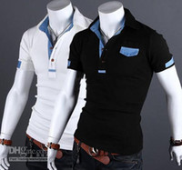 Men Polo British Noble Fashion 2013 Hot Denim mix casual short sleeve men's t shirts Button men's t-shirts men's polo shirts