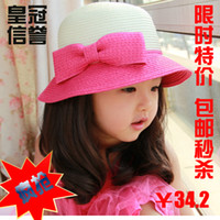 Cheap Korean ' female child strawhat aesthetic child cap summer hat sunbonnet bucket hats princess hat xm04