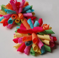 Wholesale korker bows rainbow hair bows Girls handmade grosgrain ribbon hairbows with clip hair clips CCG