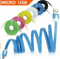 10 colors For Samsung  Wholesale 1000pcs 1m v8 Colorful noodel micro usb Data charge Cable for samsung htc blackberry nokia DHL fedex free