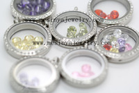 Wholesale 6mm round cz or swarski birthstone floating charm for glass locket promotion gift Xmas mother day