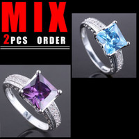 Wholesale Mix GOOD PRICE Women Band Silver Ring Sz Oval Blue Topaz Purple Amethyst Yin R080