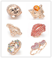 Wholesale new k gold plated crystals cool rings fashion jewelry mix oder per