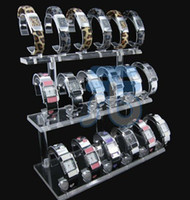 Wholesale Acrylic Organizer Countertop Showcases Shelf Holder Jewerly Wrist Watch Rack Watches Display Stand