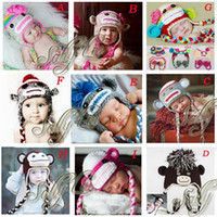 Wholesale Mixed Style Handmade Sock Monkey Hats for Baby Girl Boy Beanies Crochet Earflap Baby Hat Cap