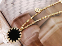 Wholesale Charming Golden Metal Black Enamel Charming Rhinestone Sunflower Pendant Necklace pc