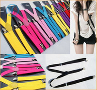 Wholesale Fashion Women Men Elastic Adjustable Clip on Y Back Solid Color Suspender Braces cm