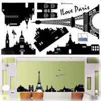 Wholesale DIY EIFFEL TOWER Home wall Sticker Mural PARIS Room Decor Art Vinyl Decal Black Wall sticker