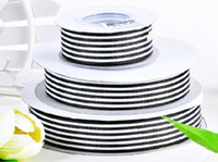 Wholesale hot quot mm black white stripes yards children HairBow DIY grosgrain stitched ribbons