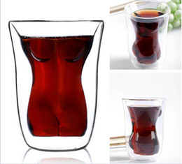 Wholesale Fashion Hot Sexy Girl Crystal Double Cup Glass Tea Cup Wine Cup Novelty Doomed