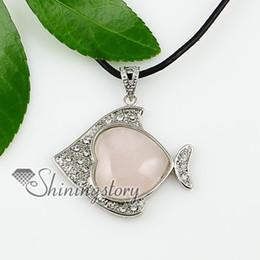 fish heart rose quartz tigereye amethyst jade glass opal semi precious stone necklaces pendants jewe