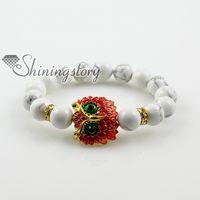 Wholesale night owl bracelets charm bracelets turquoise opal jade aget bracelets gem stone jewelry Handmade jewelry
