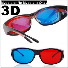 Factory Price Red-blue 3D Vision Glasses with Full Black Frame for 3D movie,3D game 50pcs lot