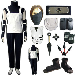 Wholesale Naruto Anbu Hatake Kakashi Cosplay Costume With Mask Gloves Shoes Props Whole Set For Halloween