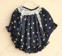 Wholesale Children Poncho Kids Cloaks Mantle Girls Cute Lace Collar Poncho Child Clothes Fashion Printed Tops