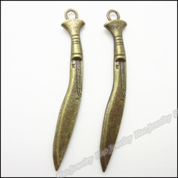 Wholesale Vintage Charms Knife Pendant Antique bronze Fit Bracelets Necklace DIY Jewelry Findings