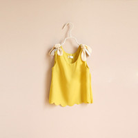 2013 Girls T- shirts Tee New Bow Waves Hem Halter Top Girls C...
