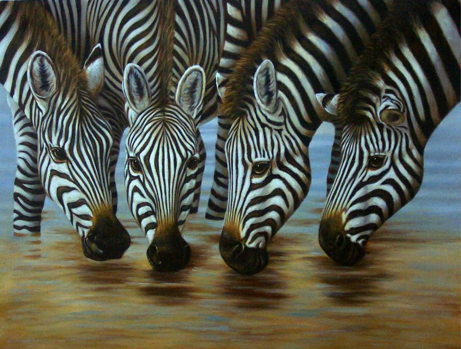 zebra oil painting - photo #12