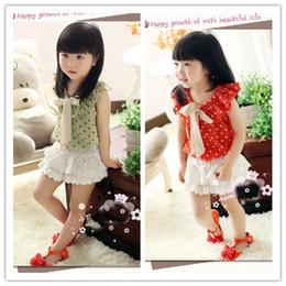 Wholesale Baby girl summer tank tops chiffion bowknots bow polka dot T shirt green orange kids girl clothing