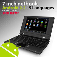 Cheap 7 inch VIA 8650 cheap notebook Google Android 2.2 wifi HD mini laptop colorful 256 4G (111242)