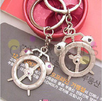 Metal Moon Zinc Alloy Alloy alarm clock keychain creative couple lovers key ring advertising gift keychain can custom logo