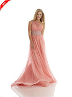 2015 Beaded Sequined One Shoulder Coral Pink Chiffon A- Line ...
