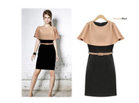 Wholesale Fashion New woman formal office dresses Scallop Round Neck sexy slim body design with belt
