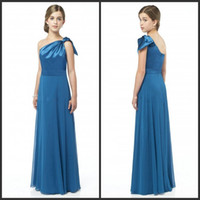 Wholesale Hunter Custom made One shoulder Sheath Floor length Chiffon Pageant dresses Junior bridesmaid dress