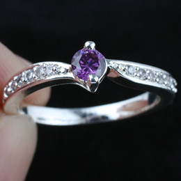 Women Silver Ring Sz 7 Wed J8064 Small Round Purple Amethyst Wedding Rings Gift For Girlfriend