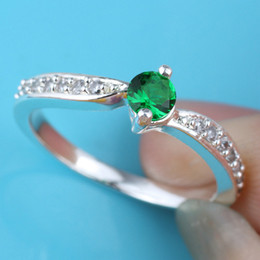 Women Silver Ring Sz 7 Wed J8067 0.3 Ct Green Emerald Anniversary Finger Rings Gift For Lovers