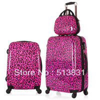 Wholesale HOT Bright Rose Red Color leopard print design women s rolling luggage suitcase sets and