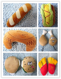 Free shippping Pet dog and cat toys cute food toy squeaker plush toy six styles 20pcs lot