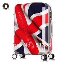 Wholesale Union Jack UK Flag Pattern design big rolling trolley luggage bag travel luggage
