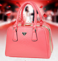 Wholesale 2013 Brand women patent leather bags fashion woman crocodile handbags lad classic totes