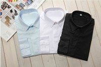 Men Cotton  Wholesale - 3Pcs lot Shirts For Men Slim Fit Silk Sleeve&Collar Stylish Shirts FreeShipping Mixed Or