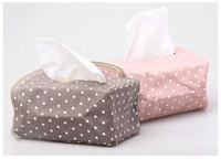 Wholesale 5 Colors Polka Dot Tissue Box European Creative Tissue Fabric Smoke Boxes